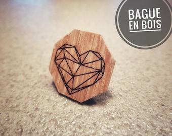 Ring - wooden heart Origami