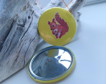 Handmade illustrated pocket mirror 58mm