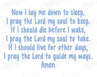 Child's Bedtime Prayer Machine Embroidery Design 5x7 6x10 7x12 Child Childrens Baby Amen Pray INSTANT DOWNLOAD