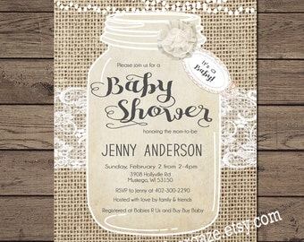 Rustic, Burlap and Lace, Baby Shower Invitation, Mason Jar, Shabby, Sprinkle, Printable  _145