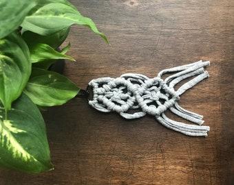 Macrame Keychain | Grey Macrame Keychain|