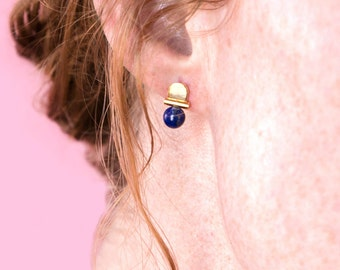Lapis Lazuli Gemstone Arch Stud Earrings / 14k gold / architectural jewelry / rose quartz, malachite