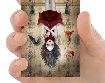 ACEO Card | Gothic ACEO Art Card | Gothic Art | Vampire Girl & Bats | Miniature Art | Among Friends