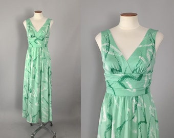Vintage 1970s mint green swirl print sleeveless designer maxi dress by Don Luis de Espana / 70s dress / extra small XS