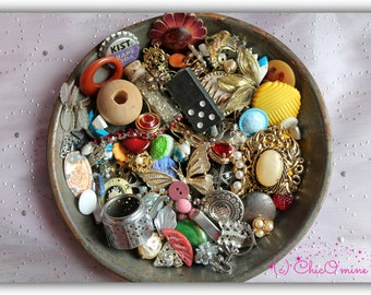 Mixed Junk Lot! Destash Jewelry, Bits and Pieces, Upcycled, Repurposed, Shabby, Boho