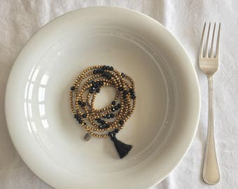 Anita, long necklace, beaded necklace, tassel necklace, multithreaded bracelet, gift idea