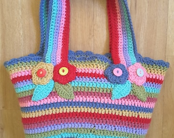 Hand crocheted summer tote bag