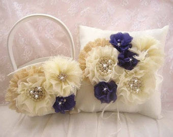 Champagne Flower Girl Basket, Fall Wedding Champagne Lace and Regency Purple Blossoms Ring Bearer Pillow, Hand dyed Flower Girl Basket Set