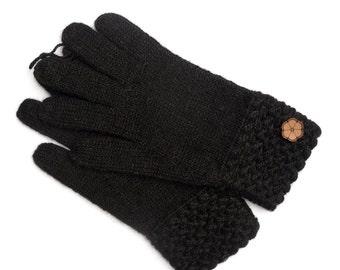 Gants noirs, grosse maille 100% alpaga de couleur naturelle, faites à la main