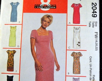Plus Size Dress Sewing Pattern McCall's 2049 Misses' Dress  Size 18-20-22 Bust 40-42-44 inches UNCUT Complete