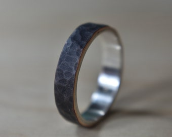 6mm Mens Antique Hammered Copper and Silver Ring, Mens Copper Band Ring, Mens Antique Hammered Copper Wedding Band Ring