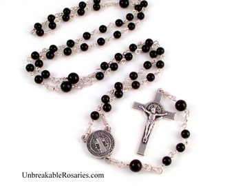 St Benedict Rosary Beads Italian Medals With Black Onyx Beads by Unbreakable Rosaries