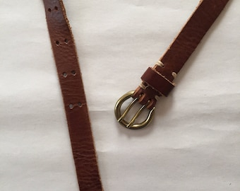 leather belt | chestnut belt | brass buckle belt