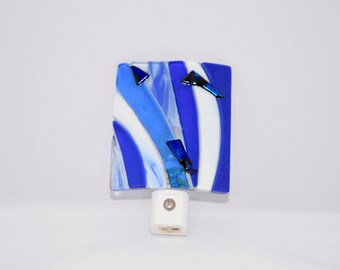 Fused Glass Night Light, Various Blues with Dichroic