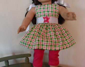 18 Inch Doll Clothes  Dress and Leggings  Fits AG and Most Other Dolls of That Size  New Handmade