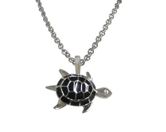 Black Turtle Tortoise Pendant Necklace