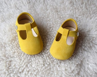 Mustard Baby Girl Shoes, Baby Moccasins, Yellow Leather Mary Jane T Strap, Infant Booties, Baby Moccs, Newborn Crib Shoes, Baby Shower Gift