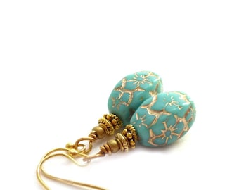 Turquoise and Gold Earrings - Czech Glass Beads - Short Drop Earrings - Aqua Gold Earrings - Free Shipping