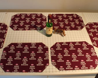 Reversible Whisky and Bacon Placemats (Set of 6)