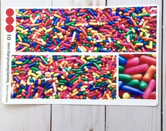 birthday planner stickers | birthday photo stickers | full box planner stickers | birthday stickers | vinyl matte | Birthday sprinkles