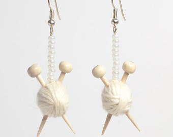 White Ball of Wool and Knitting Needle Earrings
