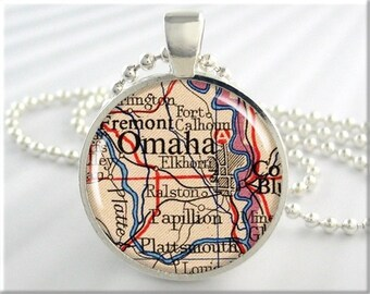 Omaha Map Pendant, Resin Charm, Omaha Nebraska Map Necklace, Resin Picture Jewelry, Gift Under 20, Map Charm 679RS