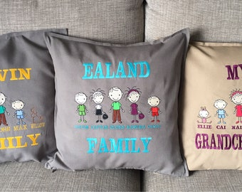 Personalised family cushions embroidered unique gift