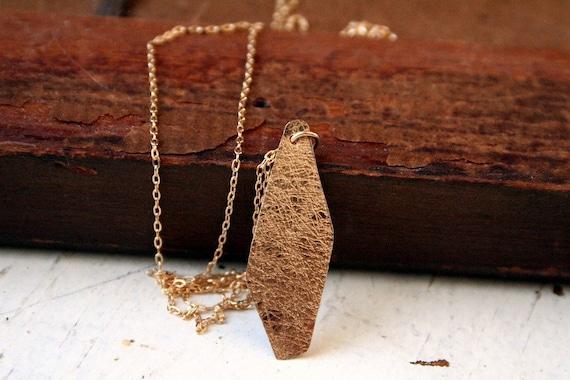 14K Gold Filled Embossed Necklace Petal