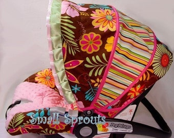 Graco Snugride 32/35/Safeseat Advantage Max 4/Brown and Pink Floral Stripe Infant Cover 5 piece set~Ready To Ship