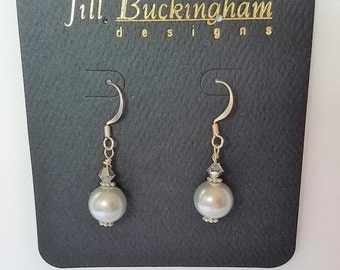 Earrings Dove Grey Swarovski Glass Pearl.