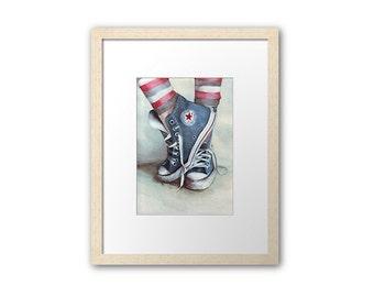 Print of All Stars Converse sneakers. Art by Helga McLeod  HM131