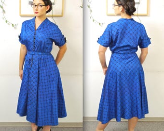 1950's/60's Cerulean Blue Taffeta Fit and Flare Party Dress with Belt / Rhinestone Buttons / Rare Collectible Retro