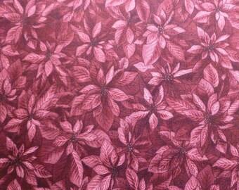 Purple Poinsettias - Destash Fabric - Cotton - Winter Wonderland - Hoffman Fabrics