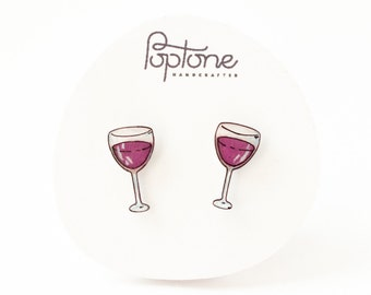 Wine glass earrings, red wine earrings, valentines gift for her, wine lover gift, wine glass studs, wine tasting jewelry