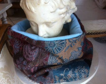 snood neck printed Paisley turquoise and beige