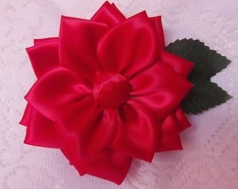 Red Kanzashi Flower, Hair Bow/Pin