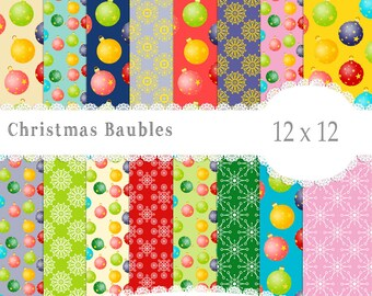 Christmas Bauble Paper, Christmas Decoration, Christmas papers,  Instant download,Scrapbook paper, Christmas paper, Christmas Scrapbook