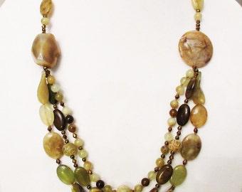 Garage...Jade Multistrand Necklace, Jade Needle Agate Chalcedony Handmade Necklace, Statement Necklace, Healing Stones, Multicolor Jade Gems