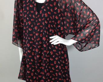 Black red and white chiffon Kimono Cardigan