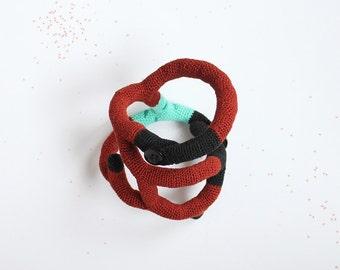 Crochet bangle - Copper Floret