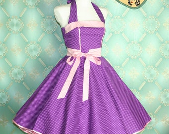 50's vintage dress full skirt in purple pink polka dots perfect for a petticoat Tailor Made