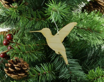 Hummingbird Ornament in Wood or Mirror Acrylic Customizable with Name - Design 2