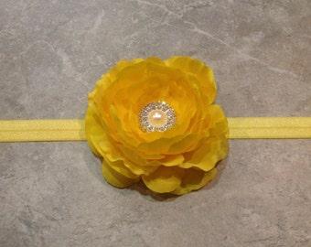 Baby Headband, Newborn Headband, toddler Headband, Flower Headband, Yellow Ranunculus Flower, Headband for Baby Toddler and Girls -BL152