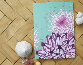 Anemone and purple barnacles card
