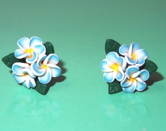 Polymer Clay Earrings Three Blue Plumeria Flowers with Leaves