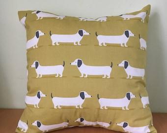 Sausage dog, dachshund throw cushion cover.
