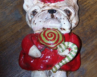 Folk Art Bakers Clay  French Bulldog Dog Frenchie Candy Cookie Ornament