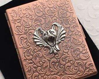Copper Cigarette Case Vampire Bat Card Case Rustic Antiqued Copper Case Gothic Victorian Gargoyle Card Wallet Halloween Prop Slim Case