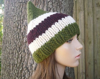 Knit Hat Womens Hat - Gnome Hat in Yuletide Knit Hat - Green Hat Green Gnome Hat Christmas Hat Womens Accessories Winter Hat