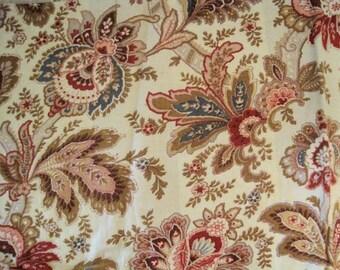 Antique Fabric French Barkcloth Jacobean 1800s